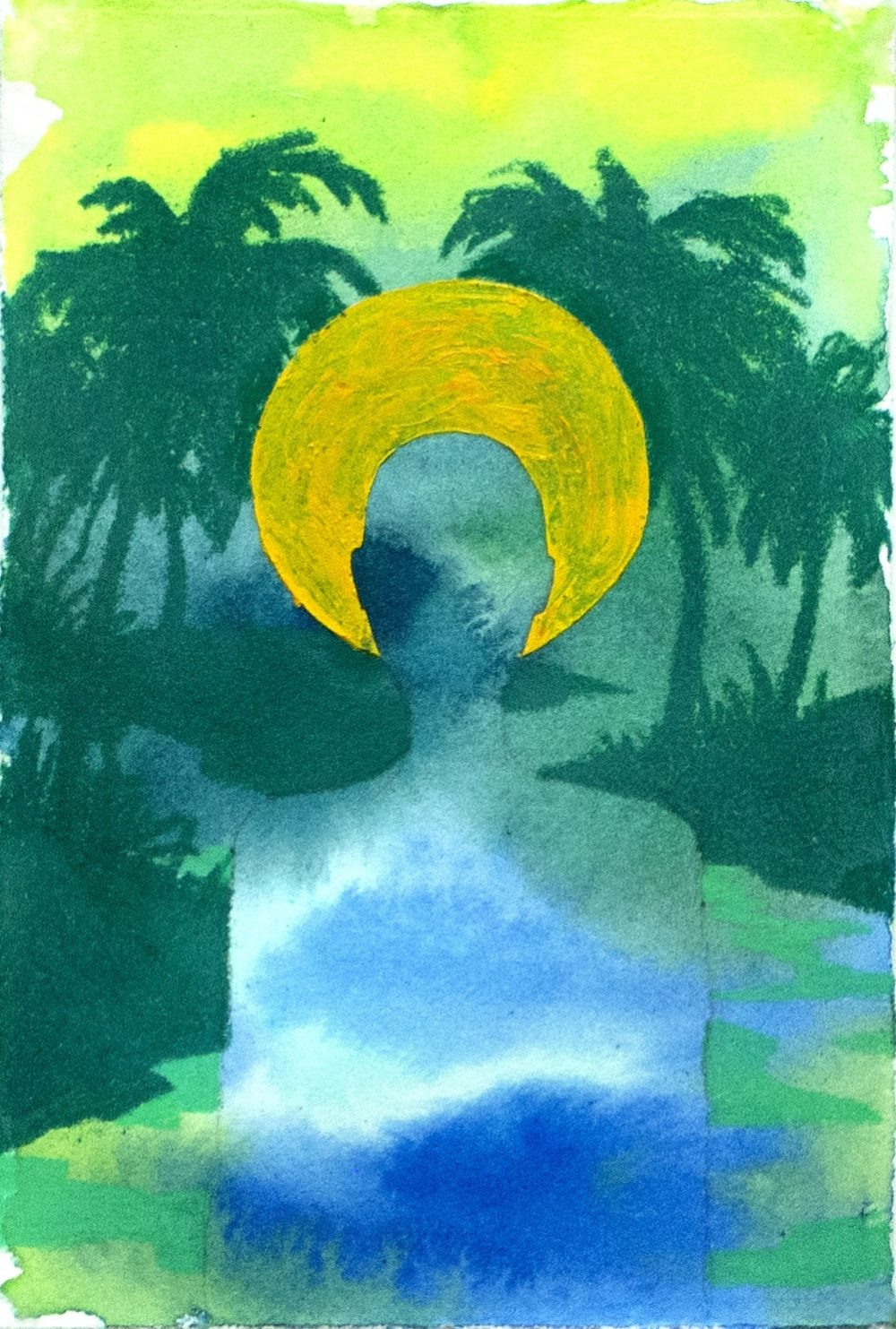 Silhouette of a person's torso and head with a golden halo around the head and palm trees in the background.