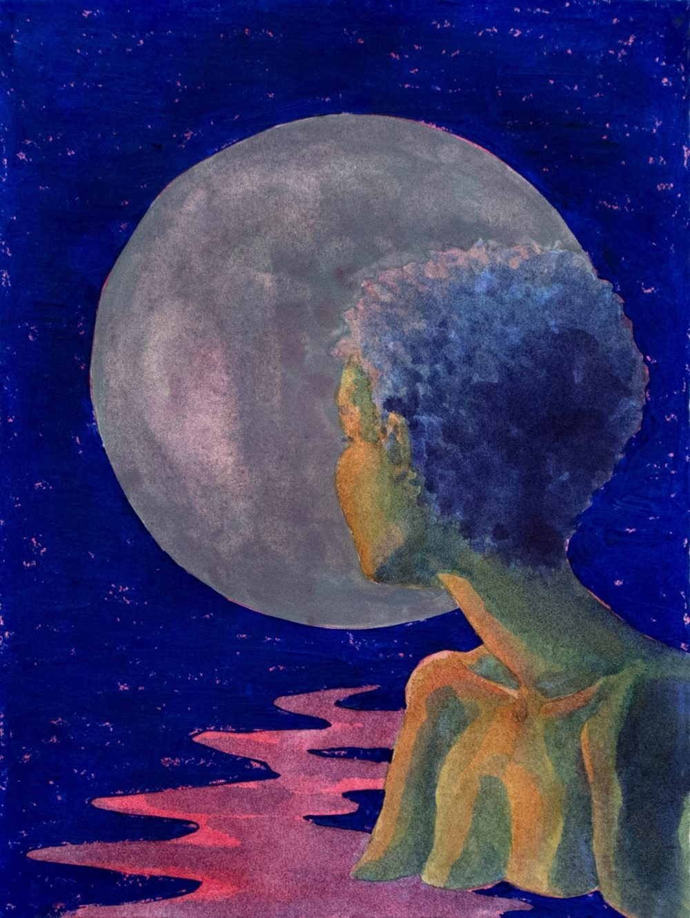 The bust of a person looking back towards a moon against a dark blue background.