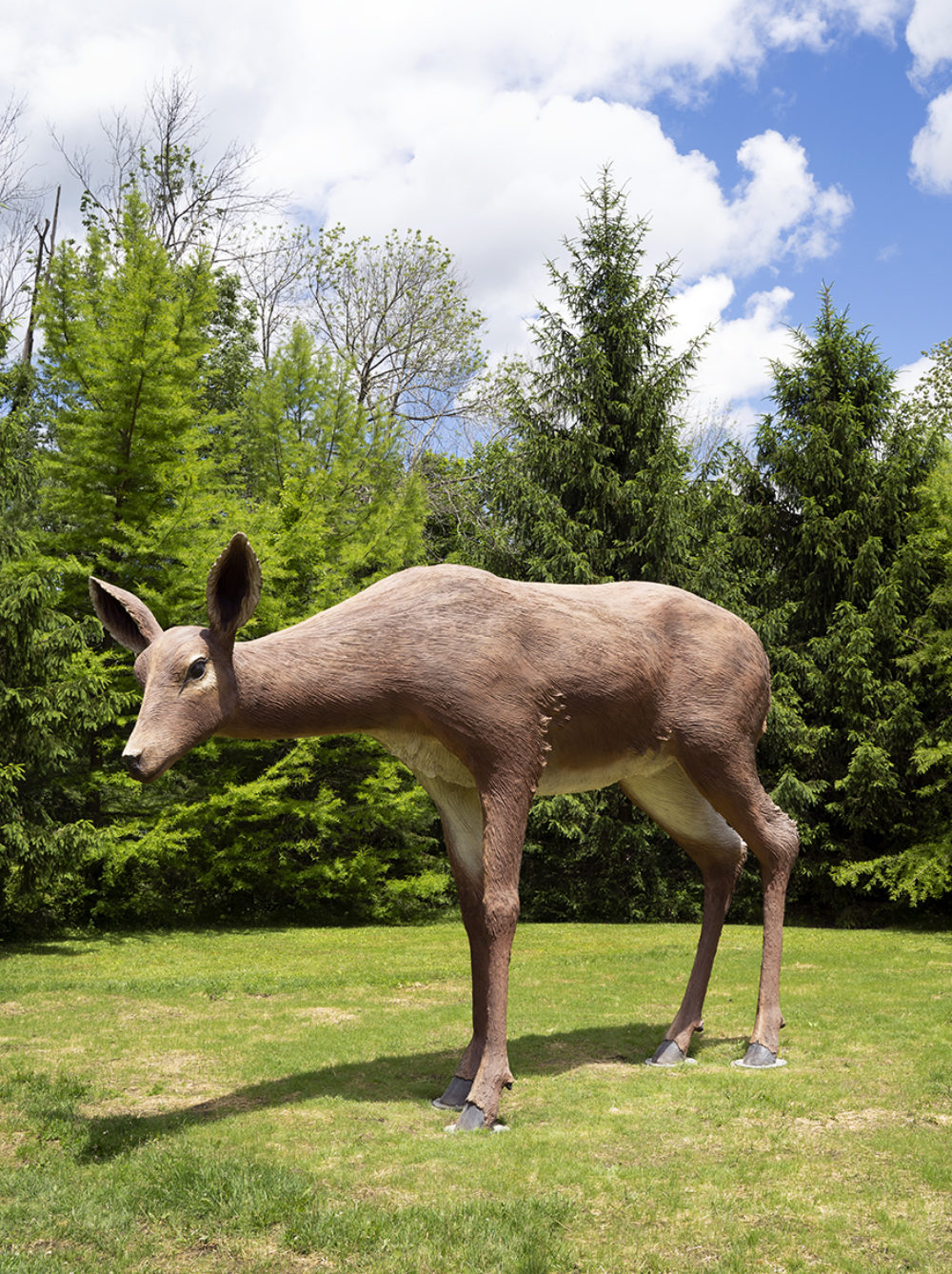 Large sculpture of white-tailed deer