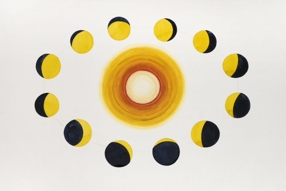 Painting of a golden sun surrounded by moons in varying phases of waxing and waning.