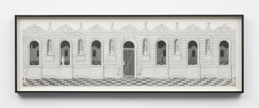 Greyscale drawing of a loggia with a checkered floor.