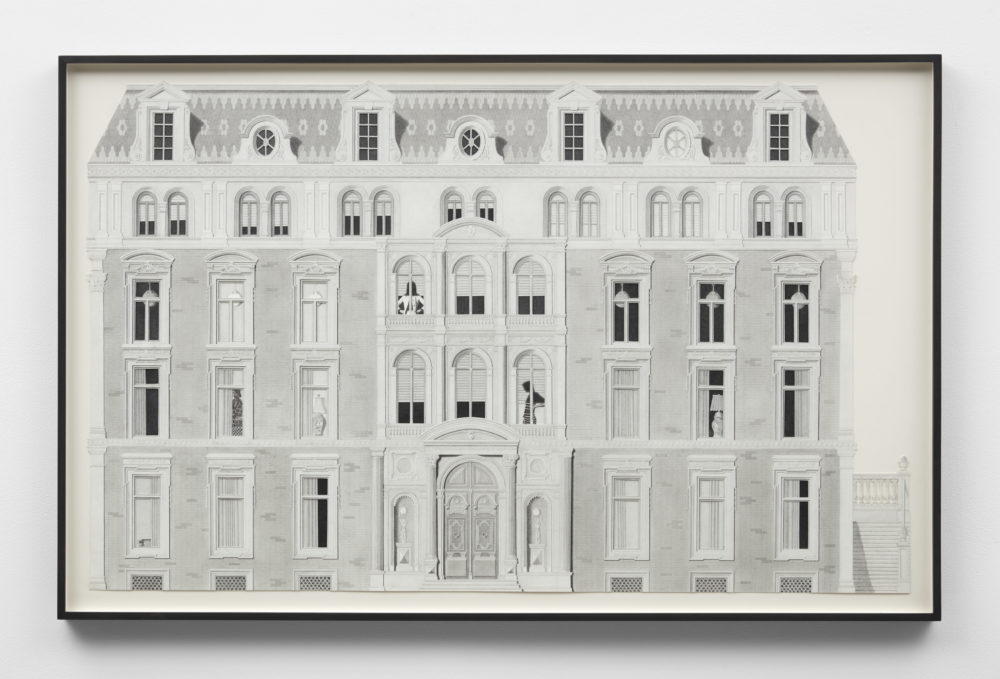 Grisalle drawing of a large building with many windows - some of the curtains are drawn back revealing objects or people.