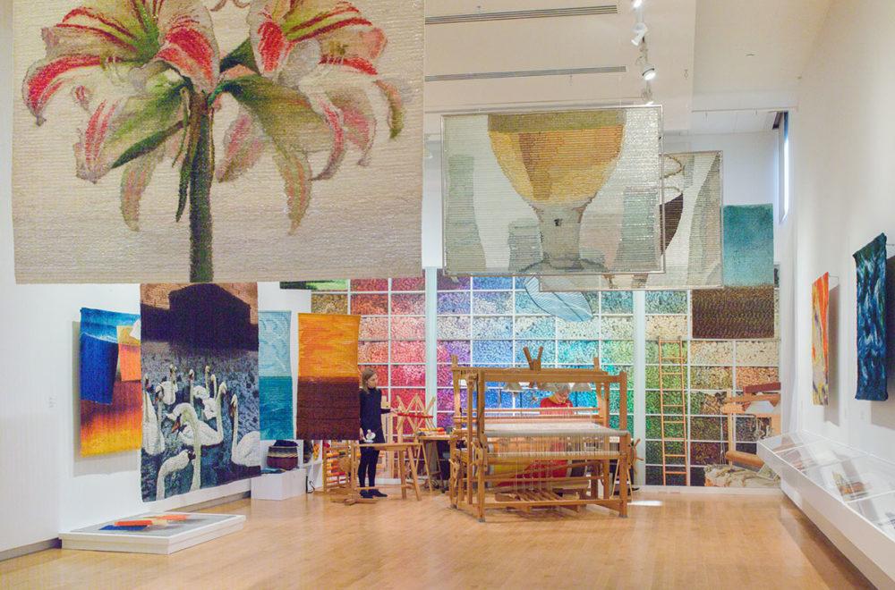 elena Hernmarck: Weaving in Progress (installation view) The Aldrich Contemporary Art Museum