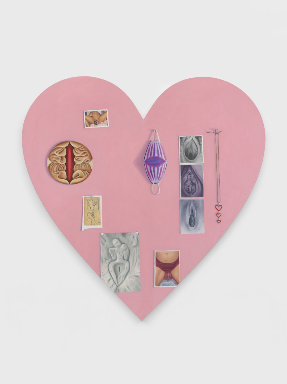 Pink heart-shaped canvas with images of crowning and art historical reference images.