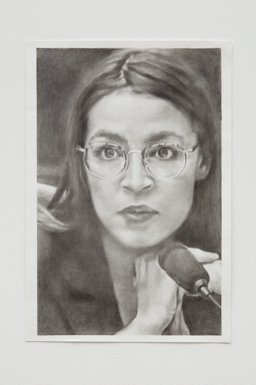 Drawing of Alexandria Ocasio-Cortez.