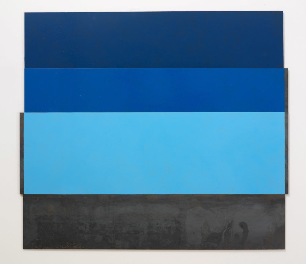 Abstract painting with three horizontal bars in different shades of blue and the bottom bar a washed black.