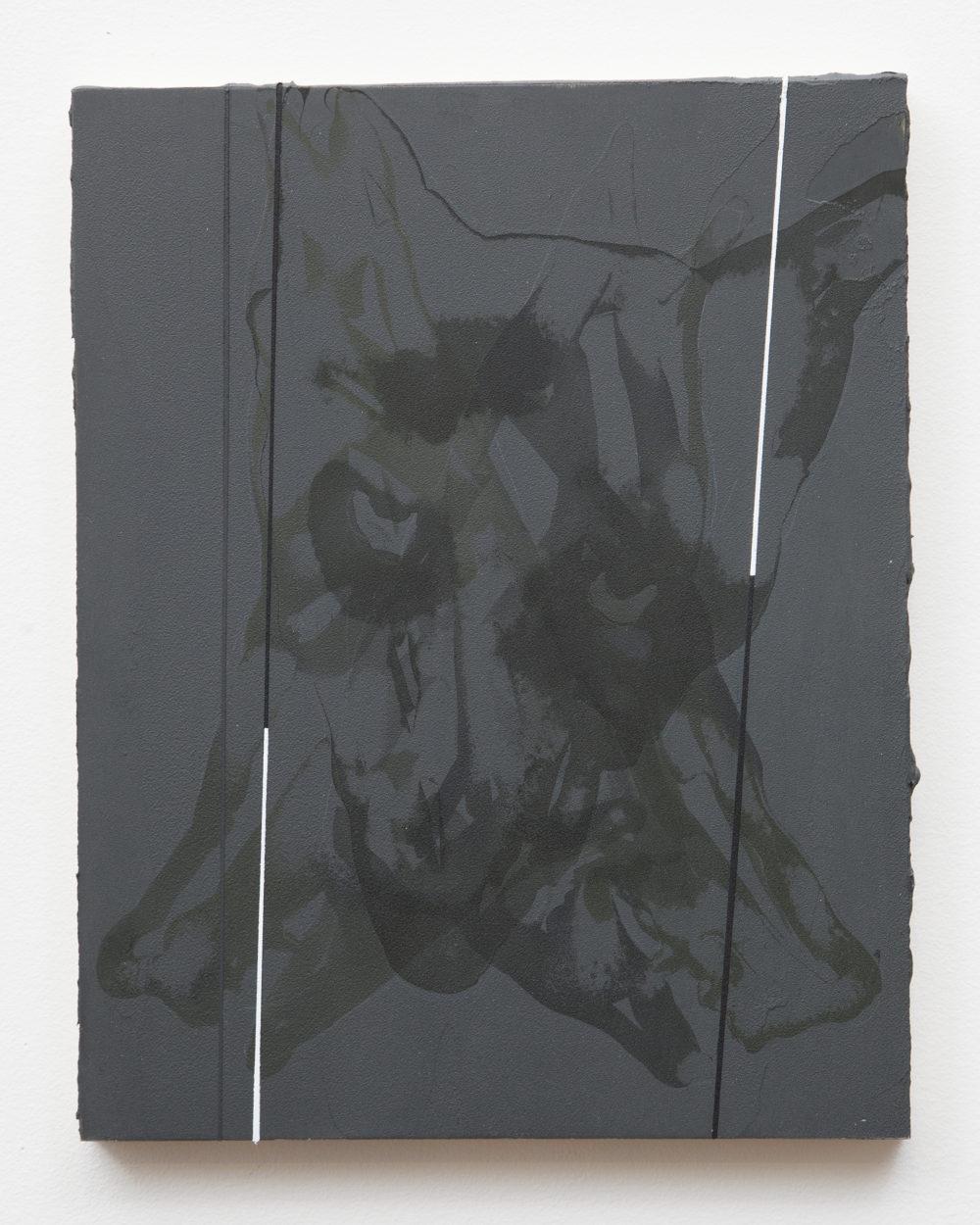 Dark gray tonal painting with an animal face.
