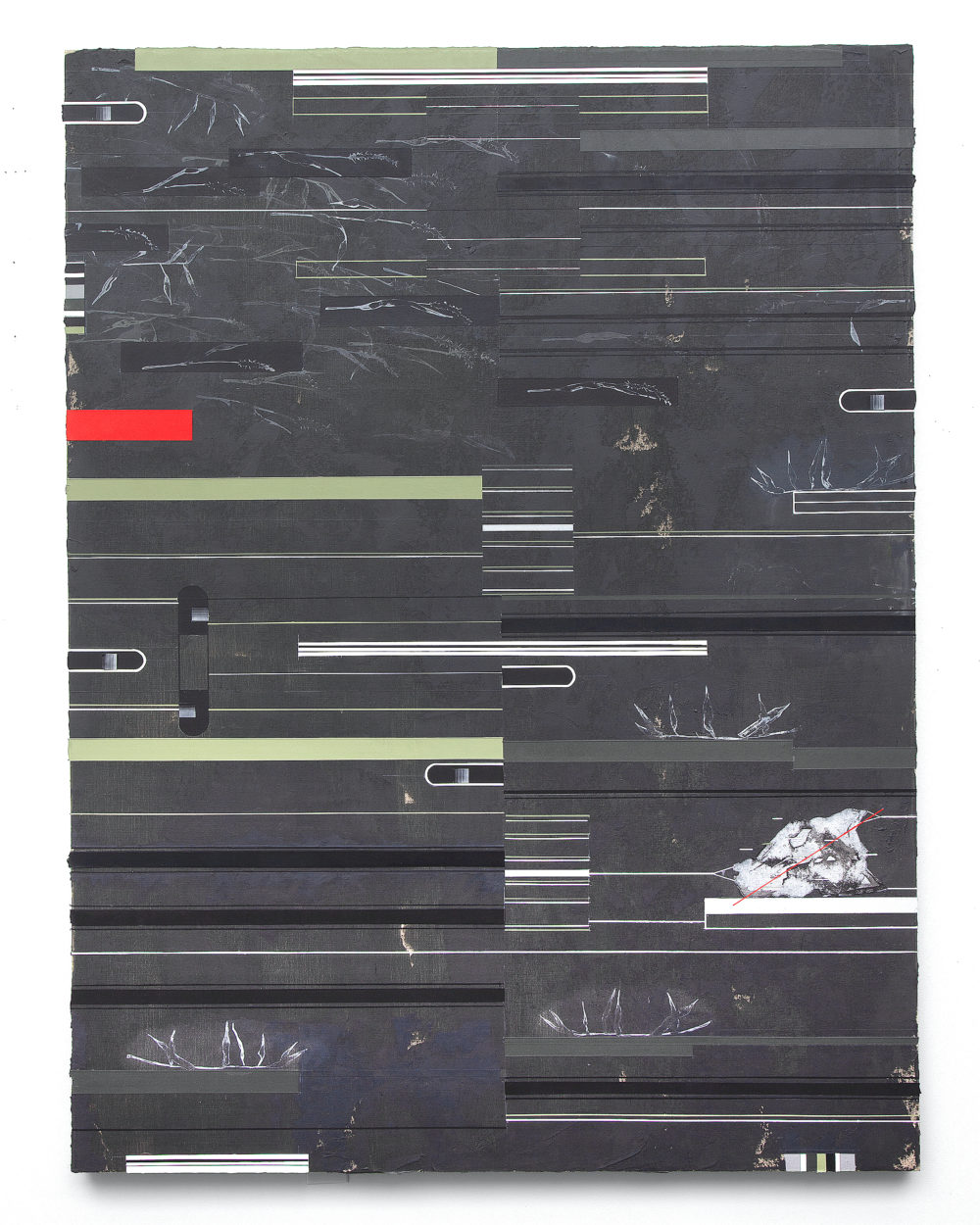 Dark abstract panting with horizontal lines and bands of color, especially red and light green.