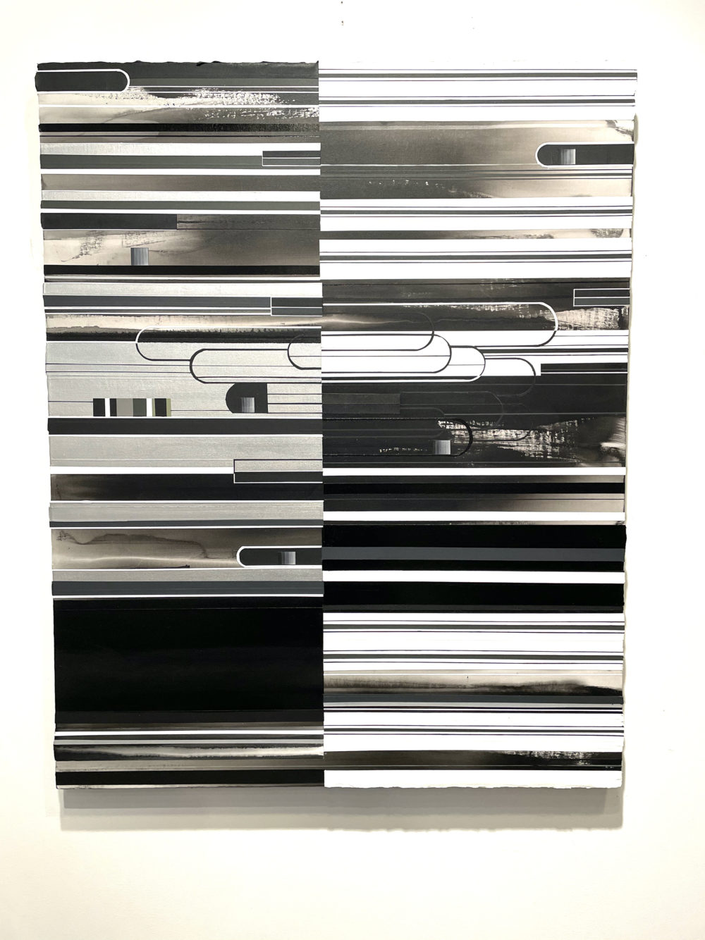 Abstract painting with horizontal bands of black, gray, and white.