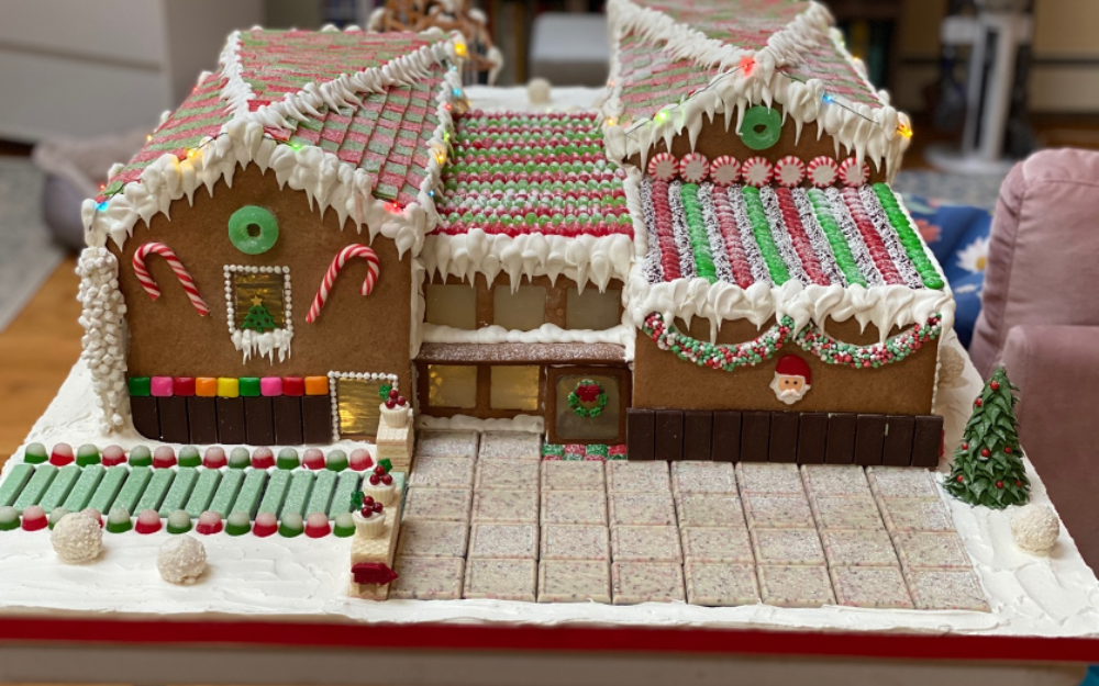 Gingerbread house replica of The Aldrich Contemporary Art Museum