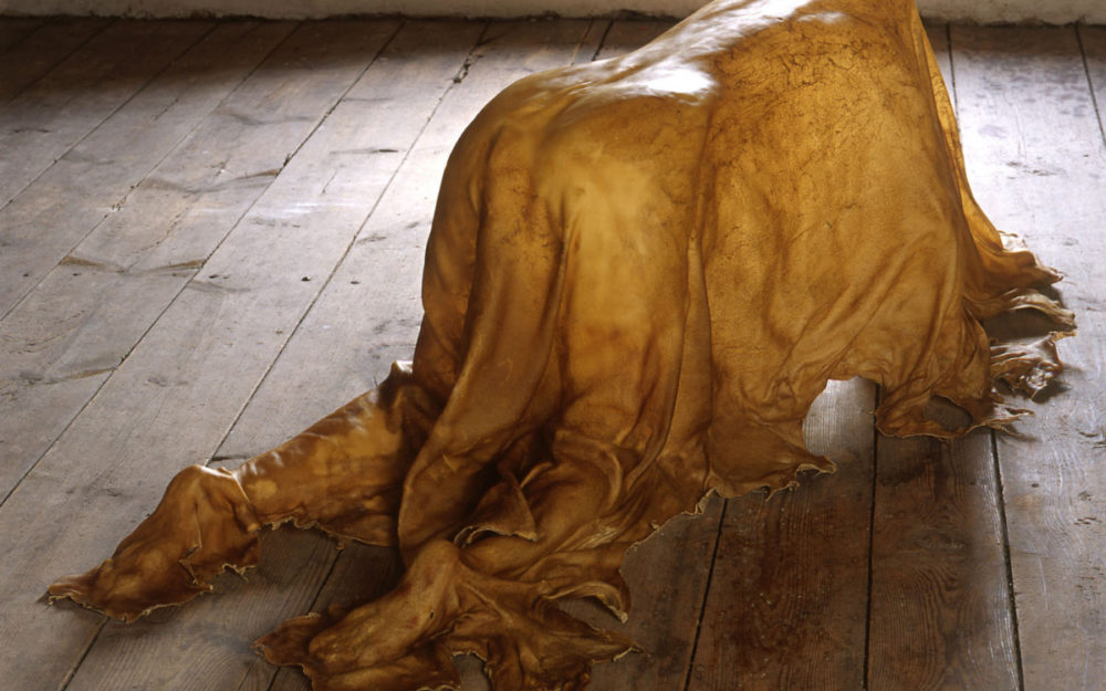 Sculptural work made of rawhide