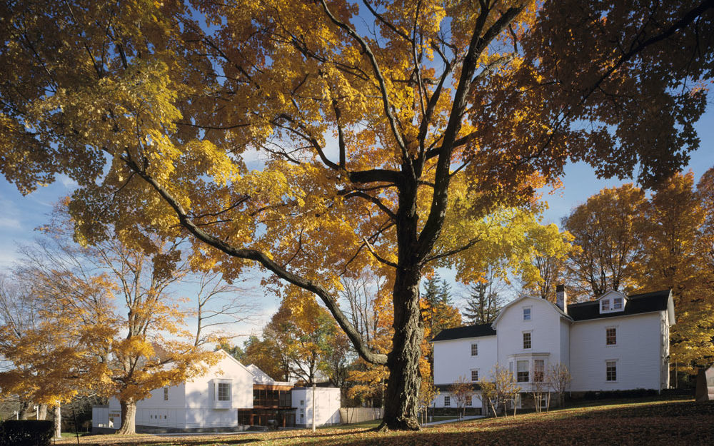 The Aldrich Contemporary Art Museum surrounded by fall foliage