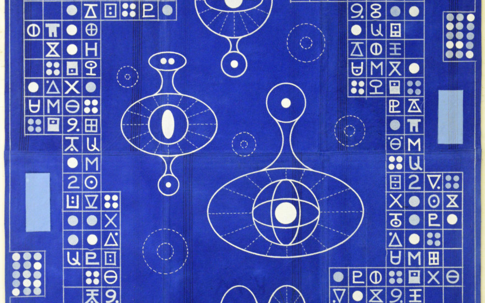 Abstract royal blueprinting with symbols in grids and floating orbs.