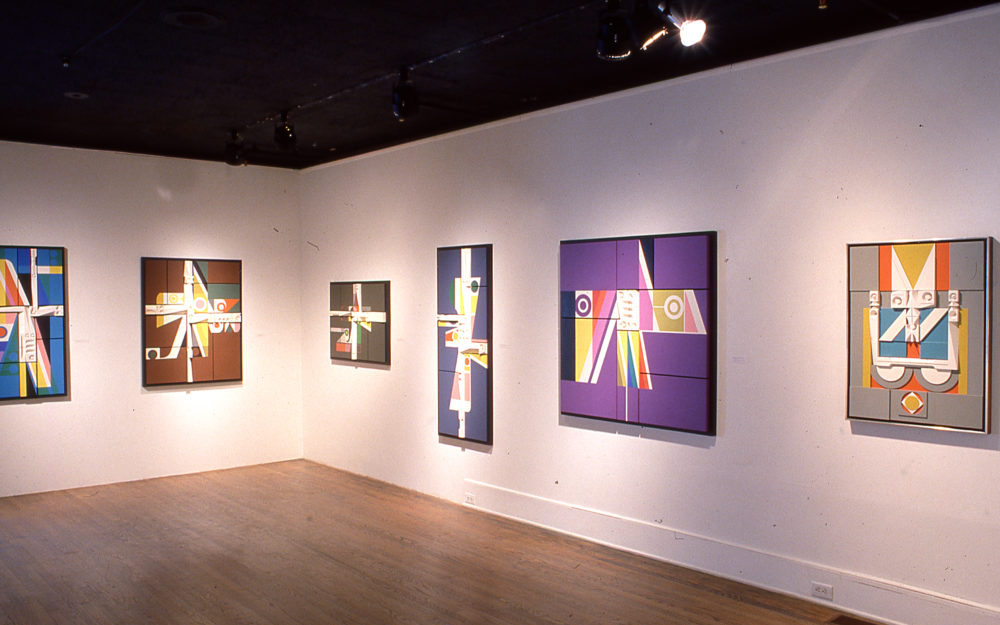 Six canvas paintings on a white gallery wall