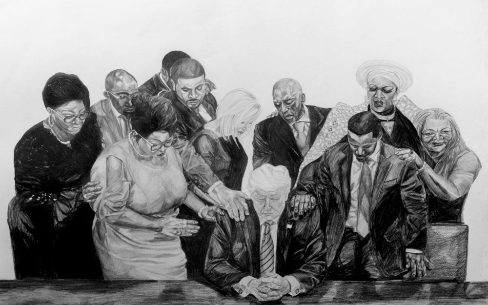 Drawing of faith healers and Donald Trump.