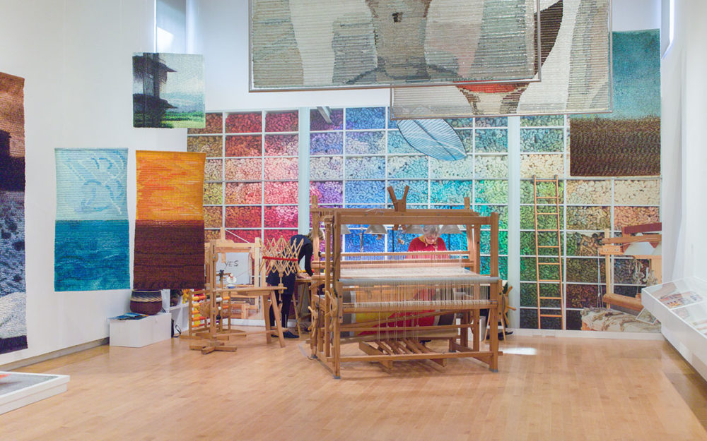 Weaving in Progress installation at The Aldrich