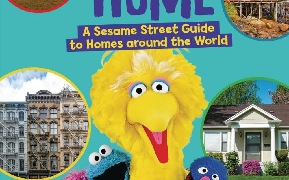 Book cover of H is for Home featuring Big Bird and Sesame Street characters and photos of homes.