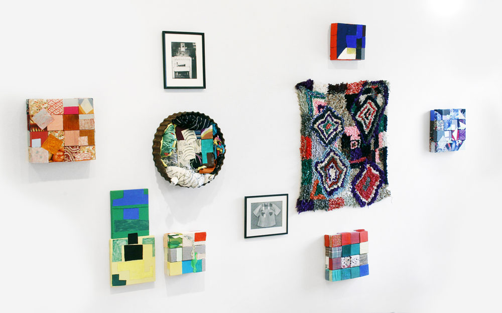 Nancy Shaver's work hung on white gallery wall
