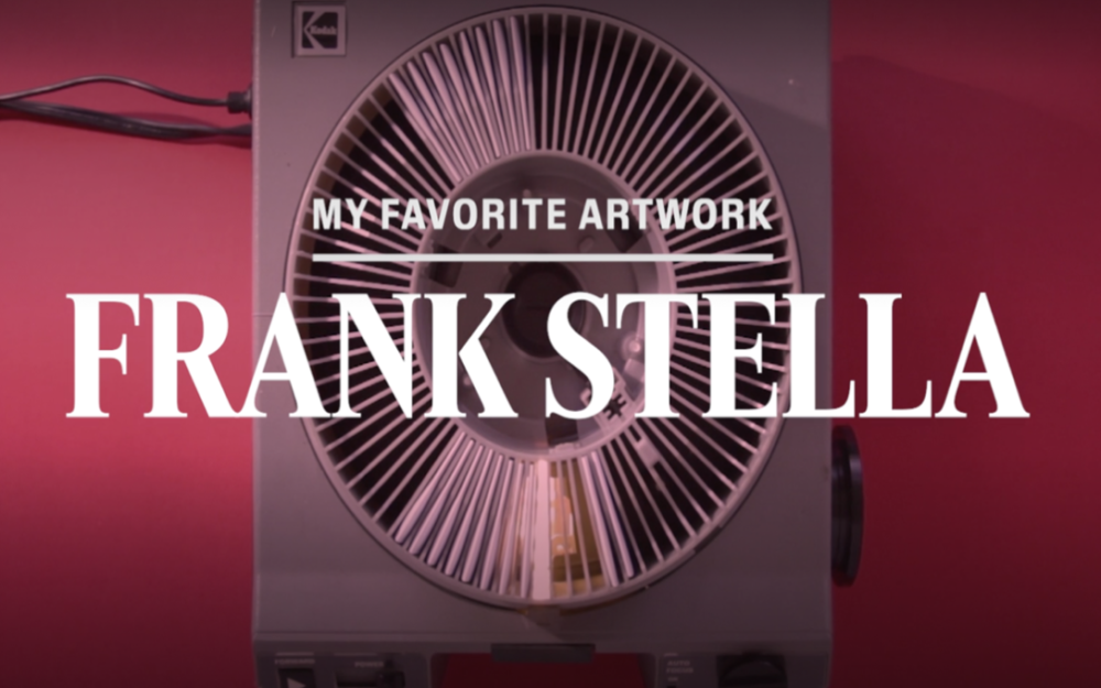 "Red background with text reading ""My favorite artwork: Frank Stella"""