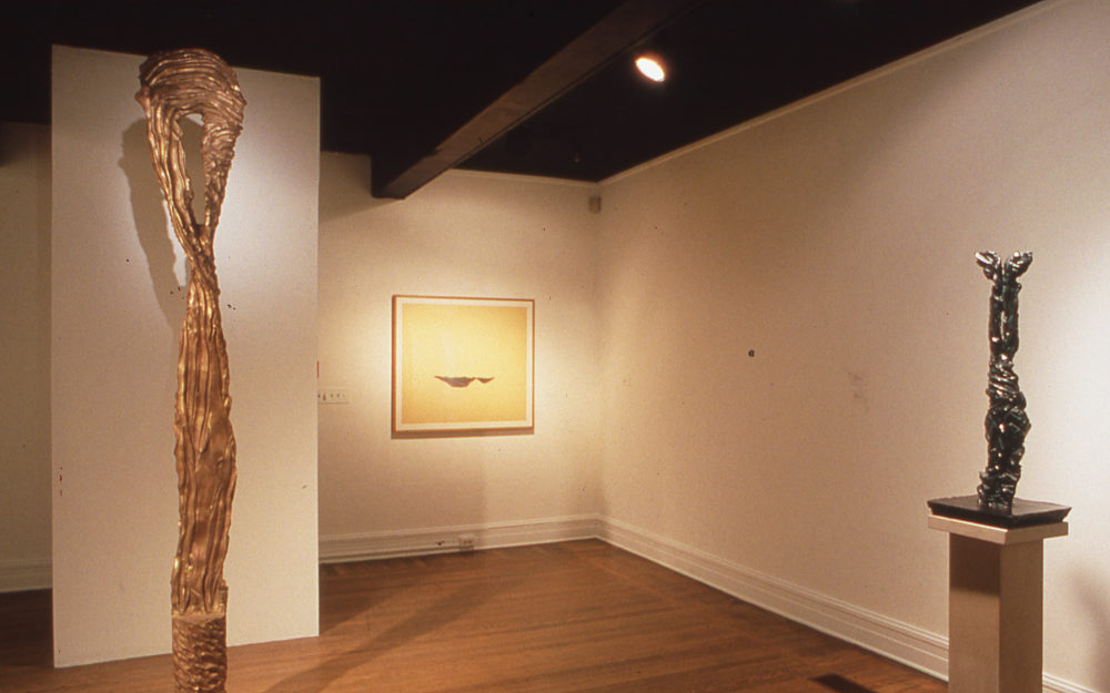 Two sculptural works in a gallery