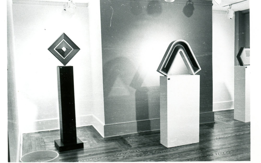 Two sculptures in gallery