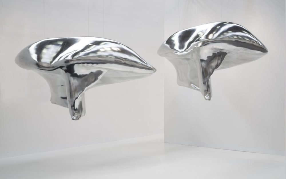Two silver sculptures