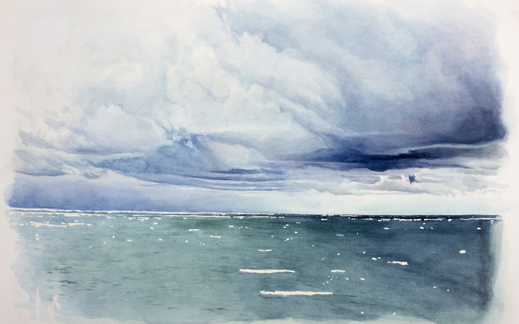 Watercolor of an ocean with a cloudy sky.
