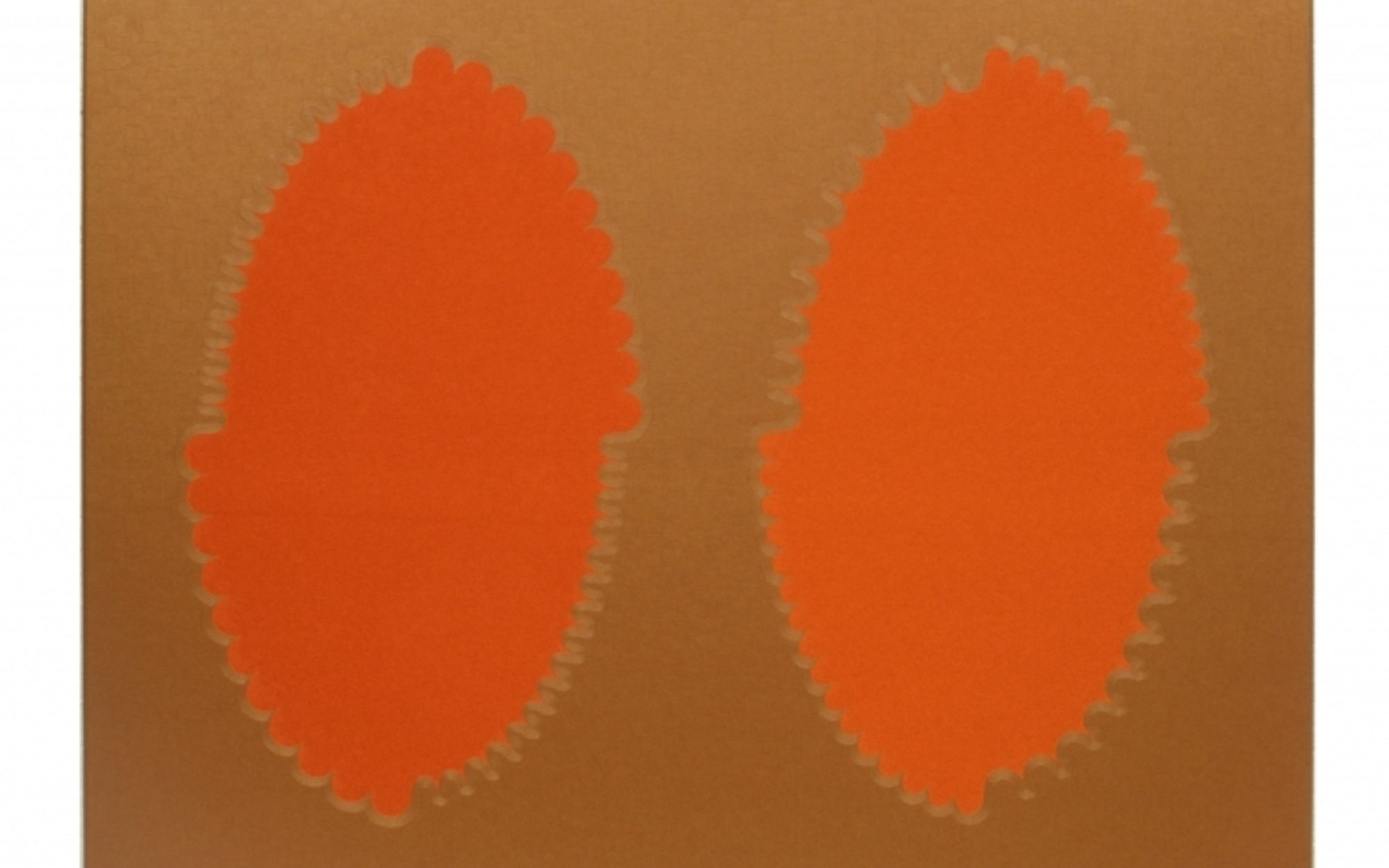 Two orange oval circles against a brown background