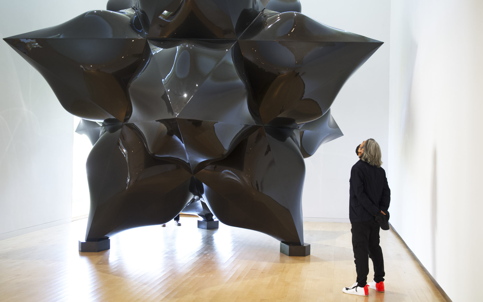 Visitor admires Frank Stella's Fat 12 Point Carbon Fiber Star (2016)