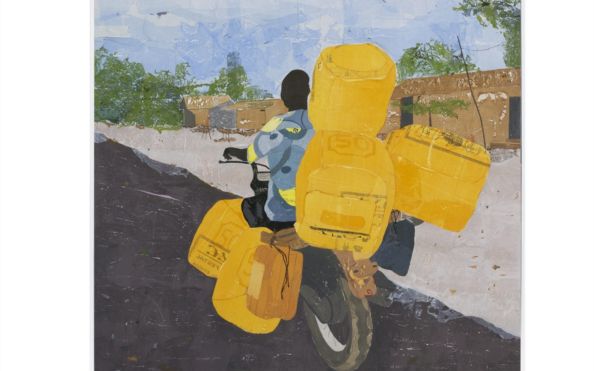Image of a person on a bicycle riding away from the viewer with large stacks of yellow bags.