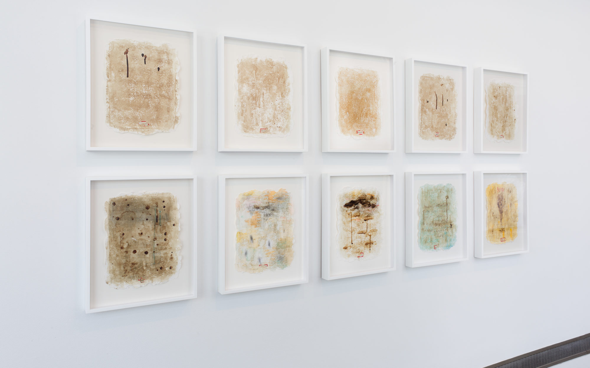 Installation view of Harmony Hammond's Blood Journals
