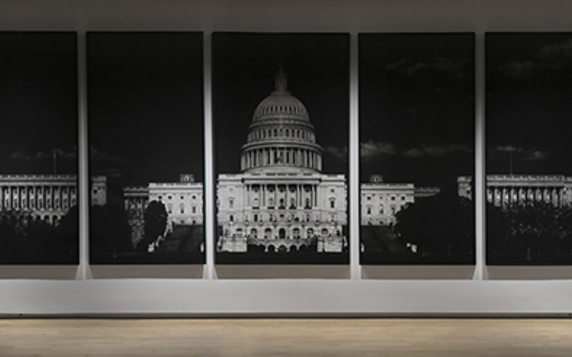 Black and white image of the United States capitol