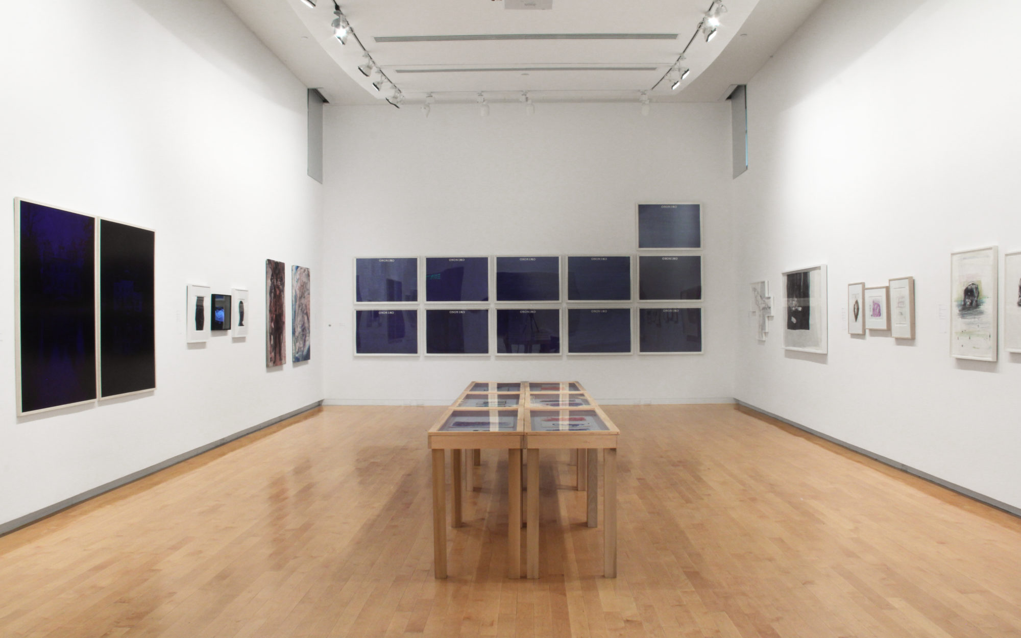 View of Ballpoint Drawing Since 1950 in The Aldrich's gallery, works hang on gallery walls and large display table sits in the middle of the room