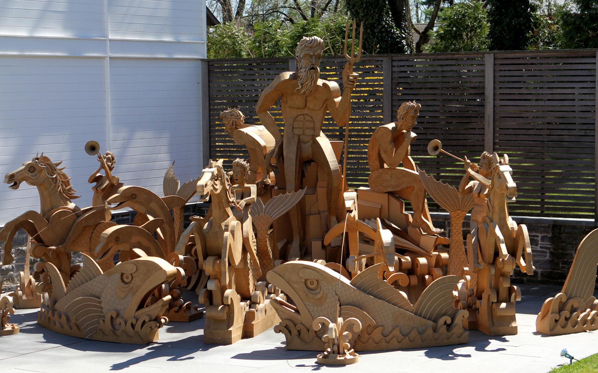 Cardboard cutouts of aquatic figures