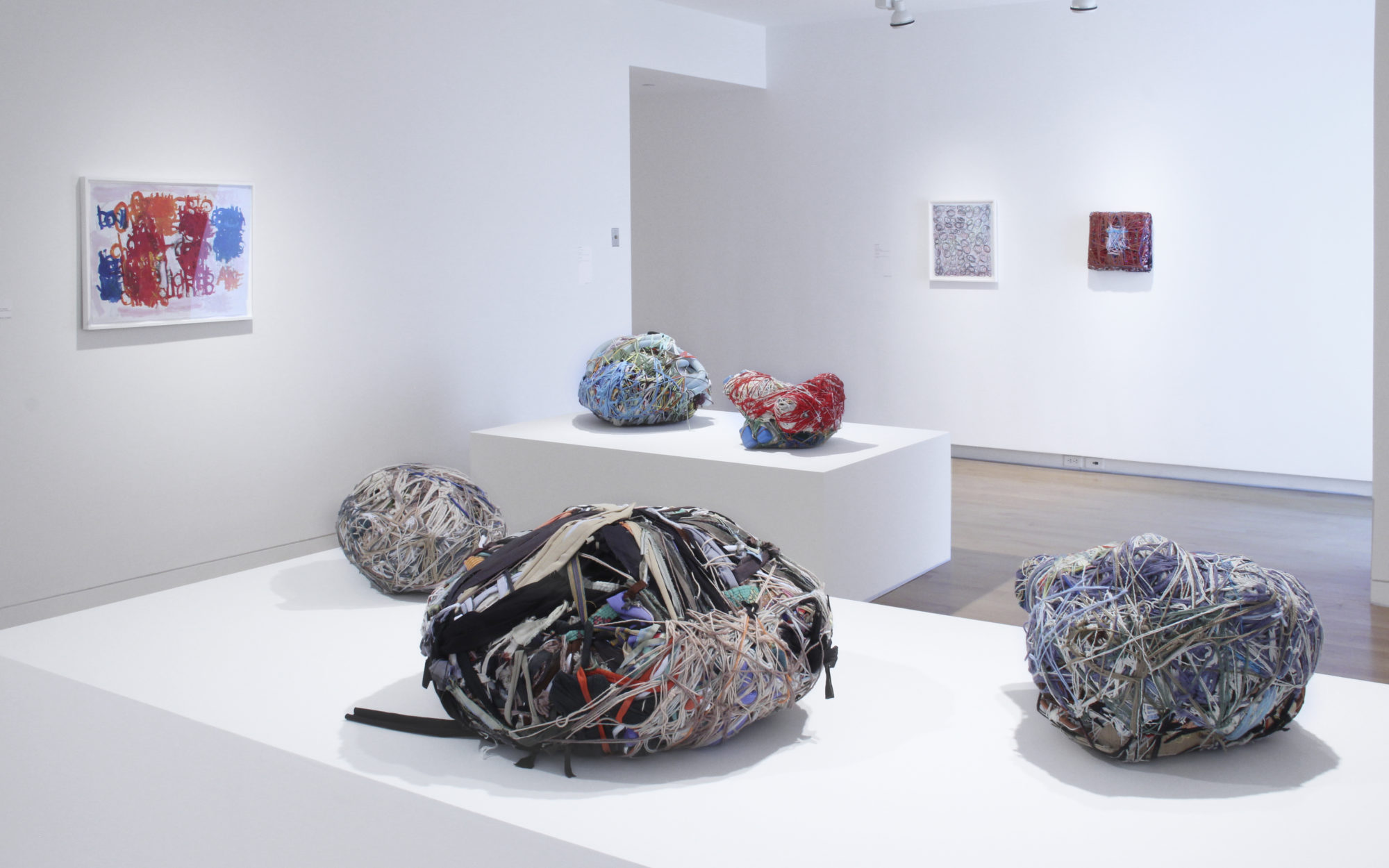 Sculptural objects on white platforms in gallery