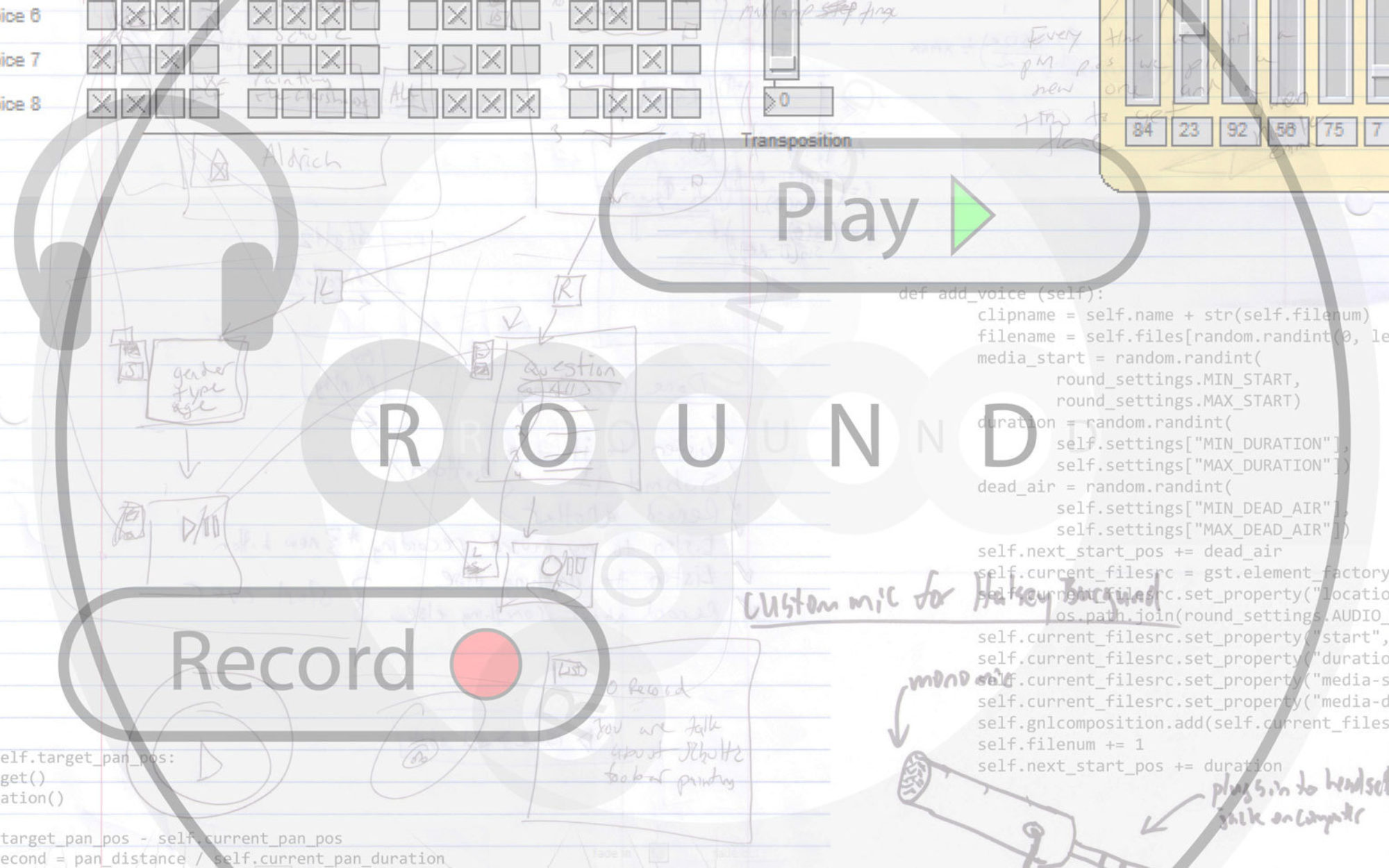 """Transparent background with text reading """"Record,"""" """"Round,"""" """"Play"""""""