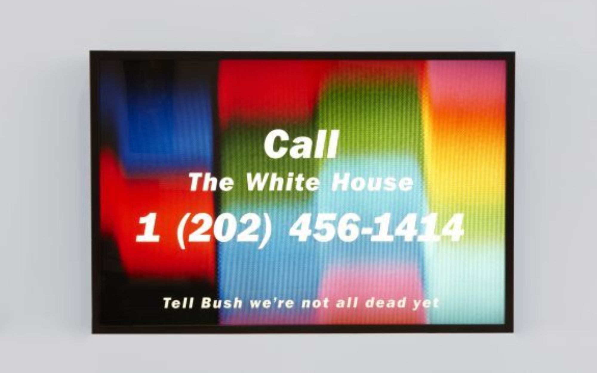 """Colorful image with white text reading """"Call The White House, 1 (2020) 456-1414, Tell Bush we're not all dead yet"""