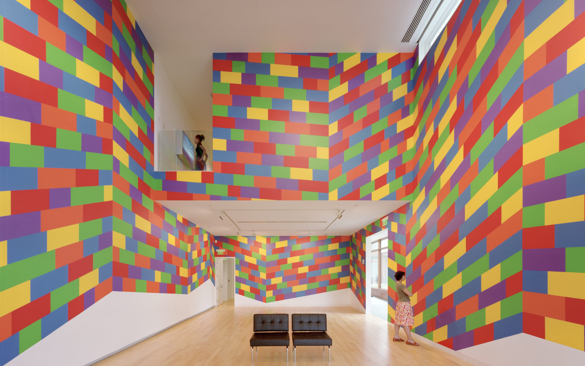 Gallery with rainbow walls