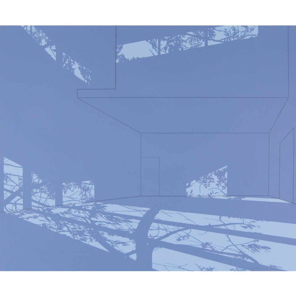Blue print of a room cast in shadows