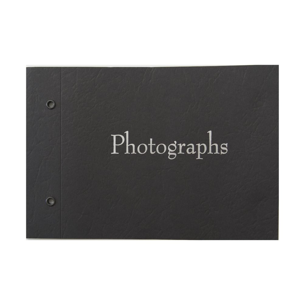 """Black book with silver text reading """"Photographs"""""""