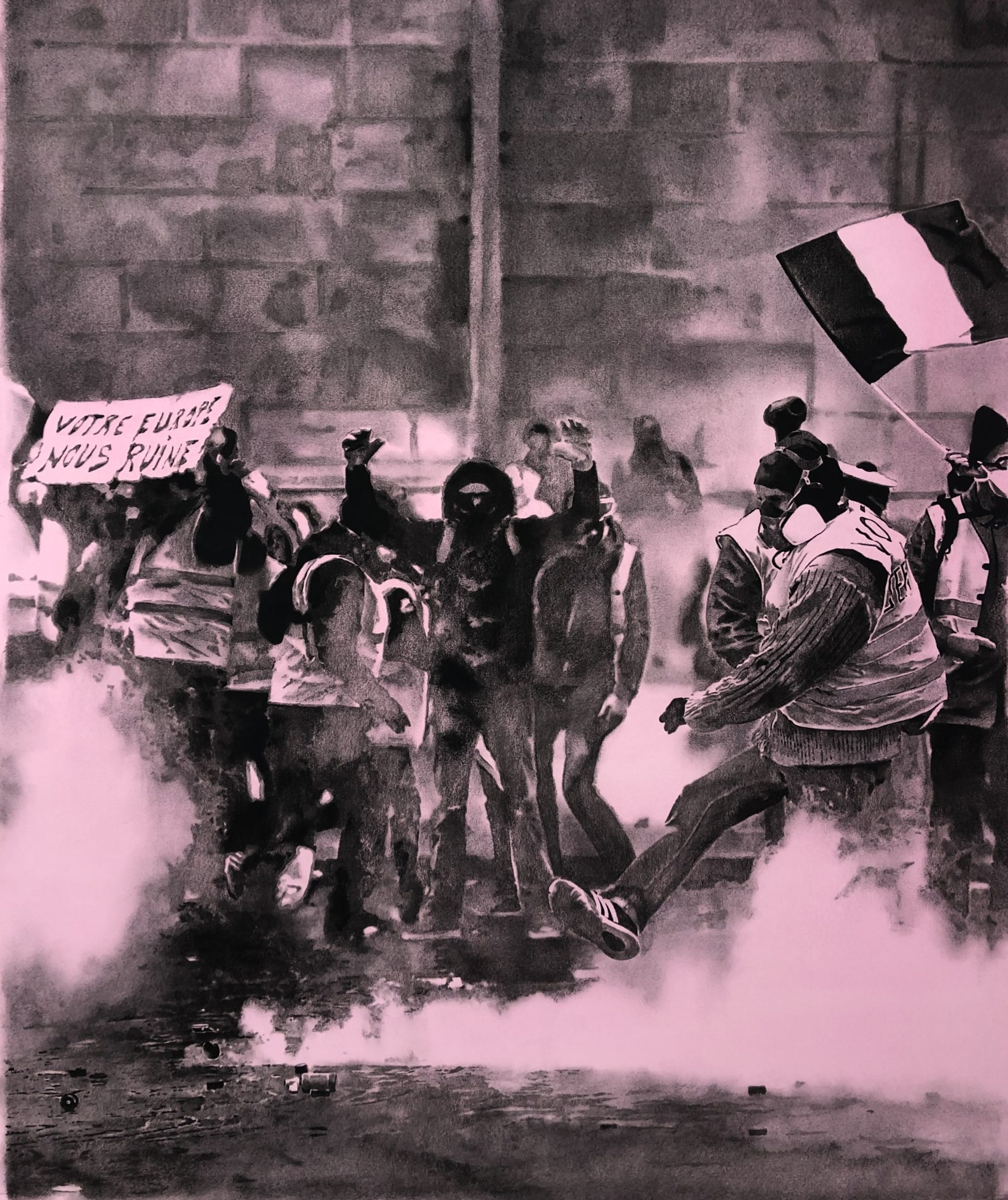 Black and pink drawing of protesters in Paris.