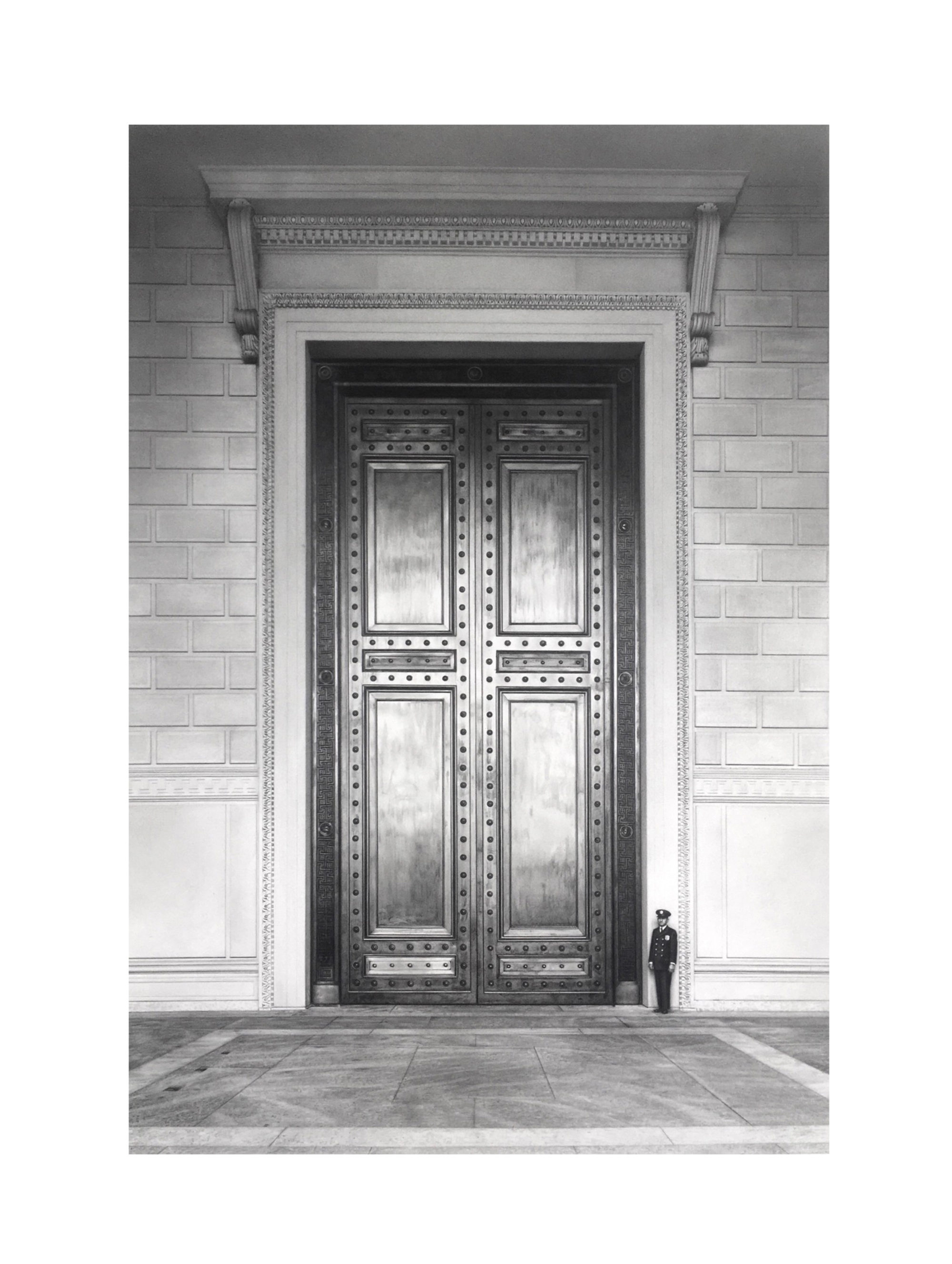 Drawing of a guard in front of the door to the National Archives.