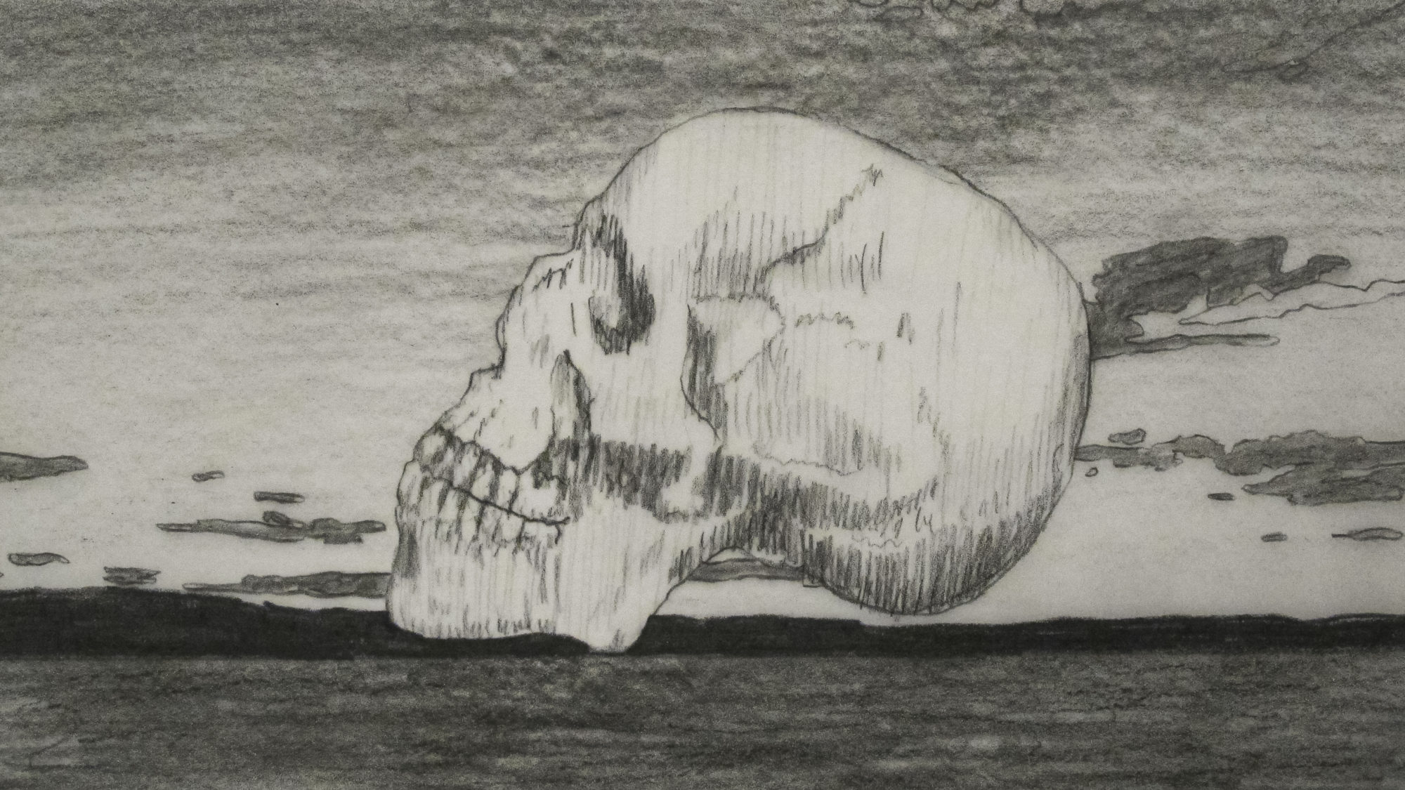 Drawing of side view of a human skull.