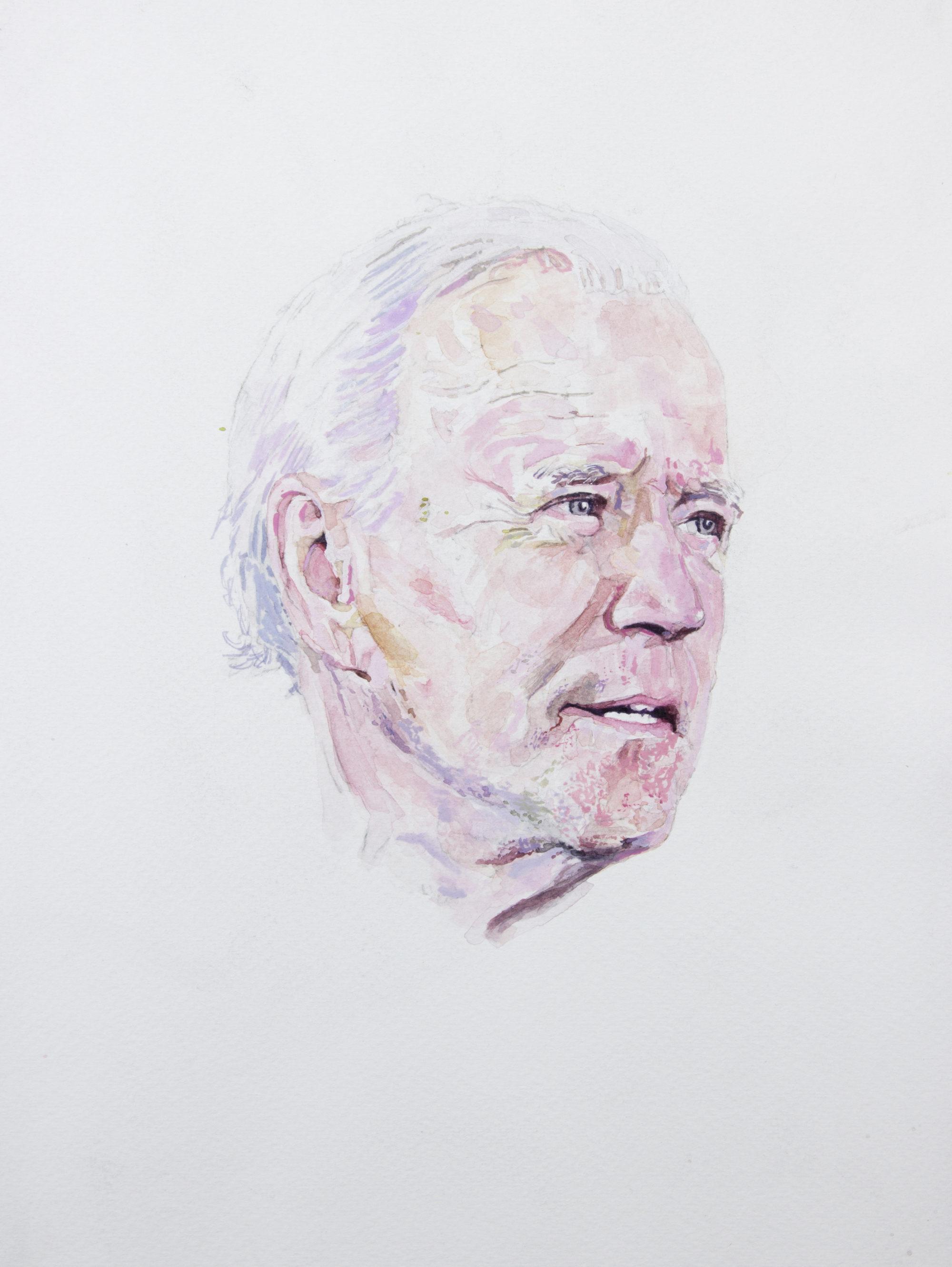 Watercolor portrait of Joe Biden.