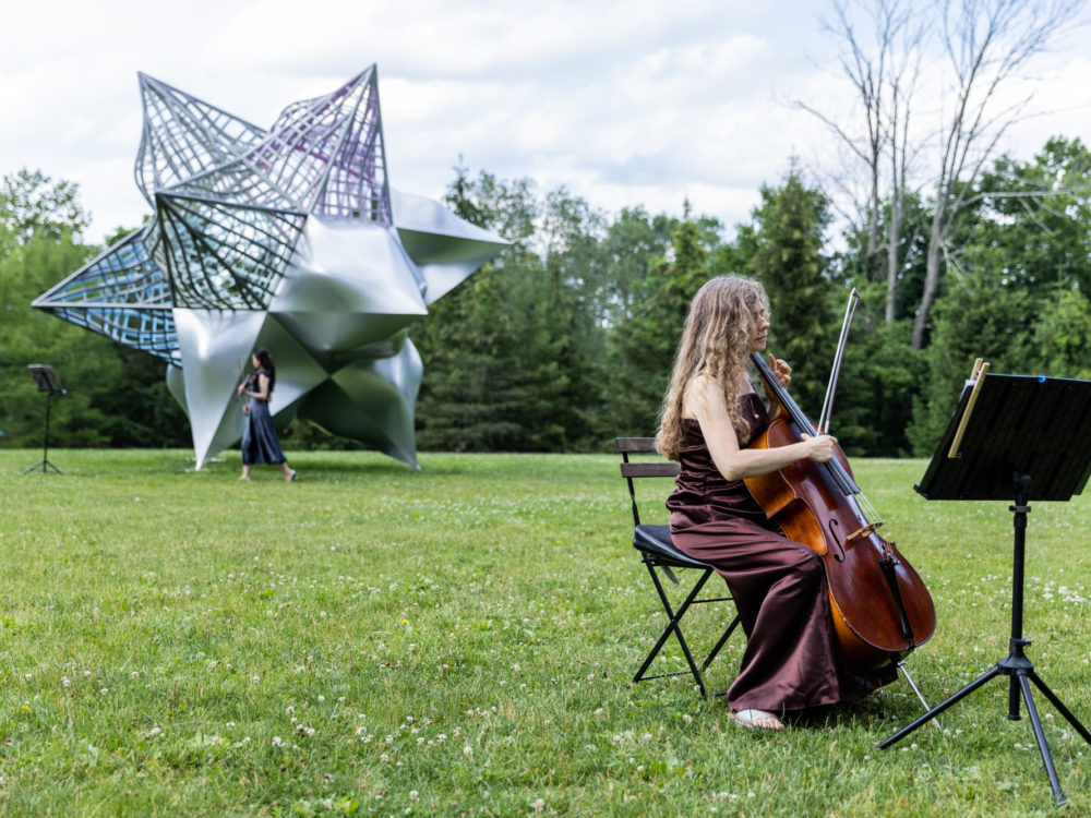 A musician performs with their back to a large star sculpture