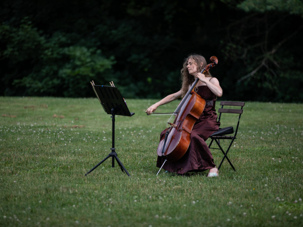 A musician performing seated in a chair in a field