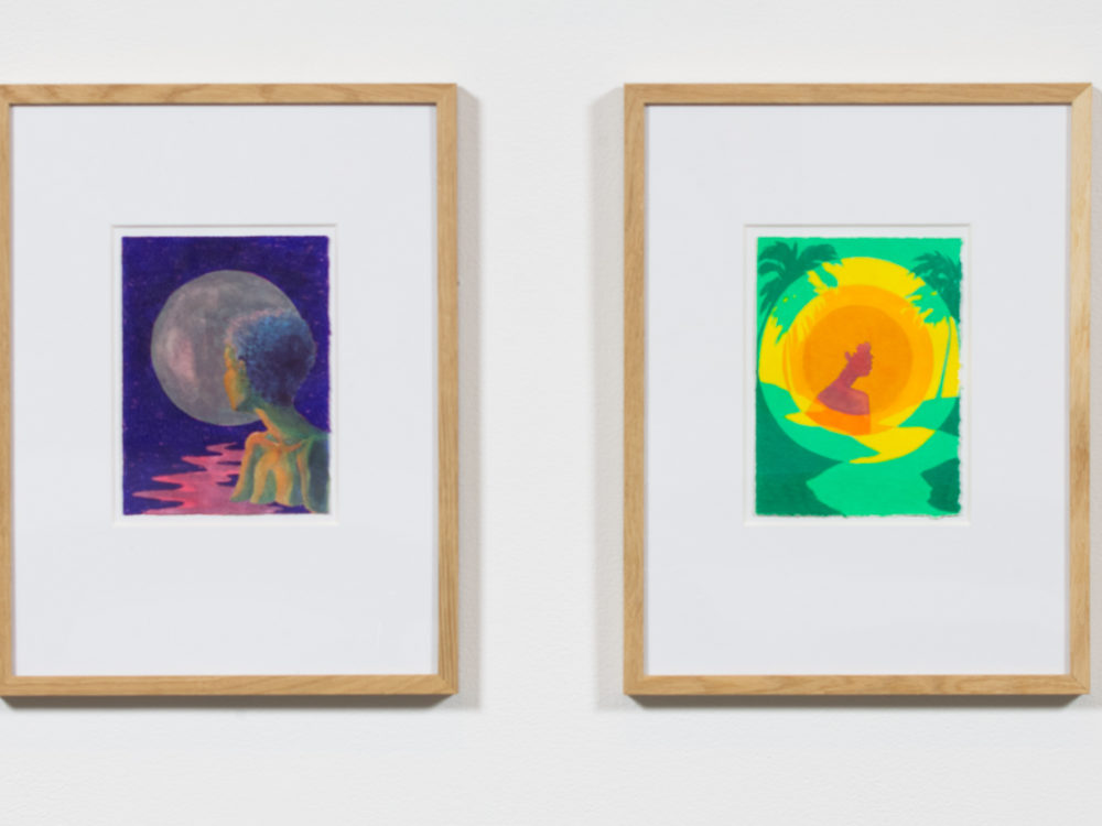 Four small watercolor paintings based on tarot cards.