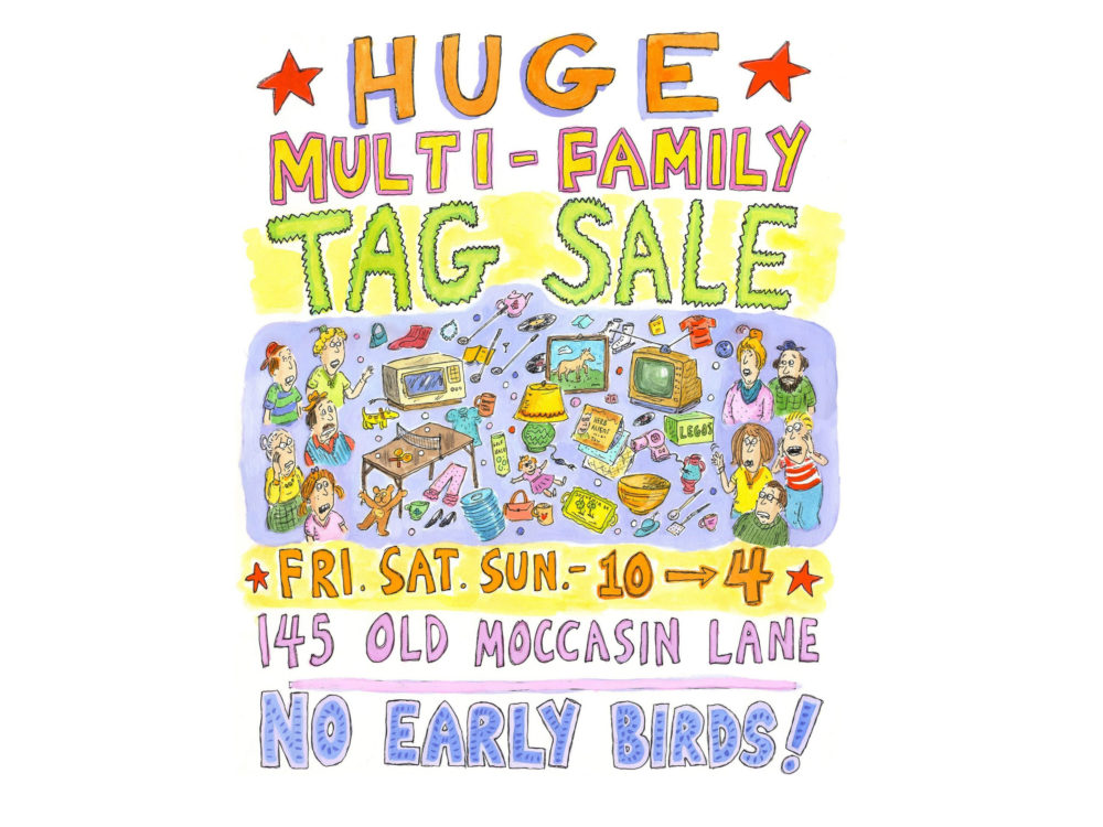 Drawing of a tag sale poster with items for sale and people attending the sale