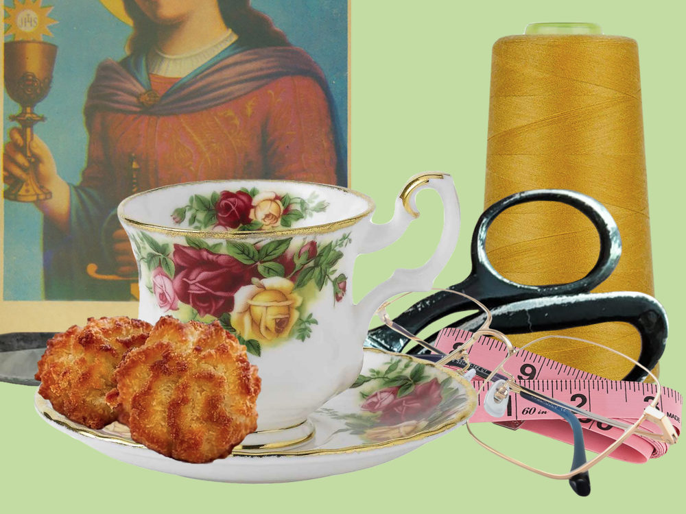 Image of a religious icon, coconut cookies, a floral teacup, eyeglasses, scissors, a measuring tape, and spool of thread against a light green background.
