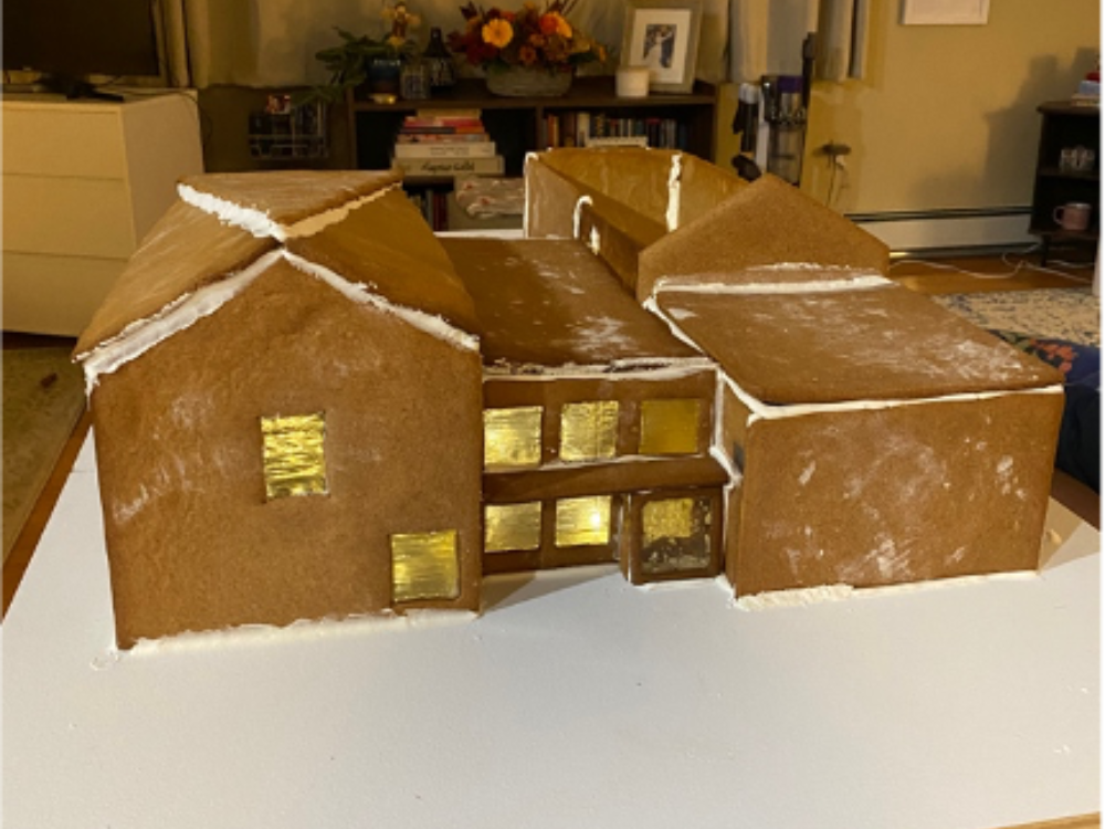 Gingerbread replica of the front of The Aldrich Contemporary Art Museum